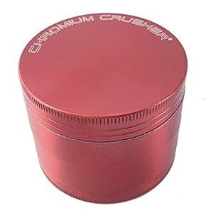 "Chromium Crusher 2"" Red 4 Piece Tobacco Spice Herb Grinder"