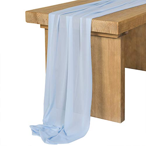 Ling's moment Powder Blue Chiffon Table Runner 27x120 Inches Sheer Table Runner Rustic French Chic Wedding Party Bridal Shower Decorations -