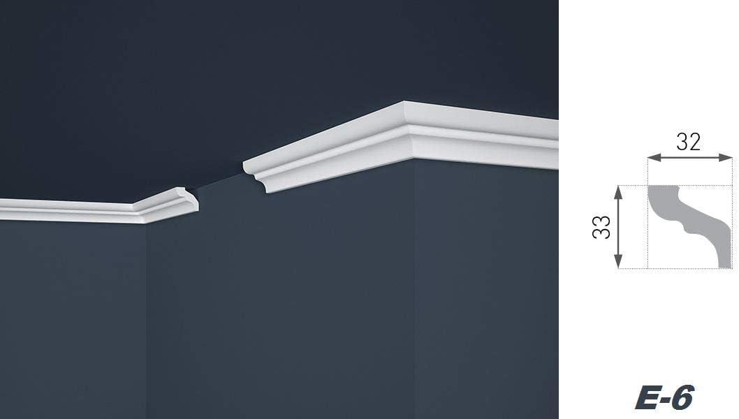 E-6 2 Meter de techo perfil decorativo tira decorativa moldura duro 32 x 33 mm