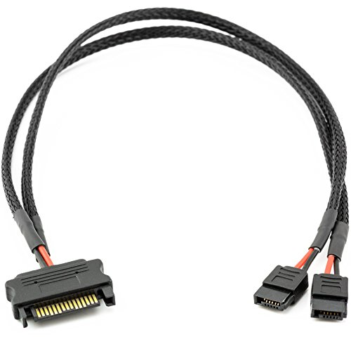 CRJ SATA Power 15-Pin Male to Dual SATA 6-Pin Slimline Sleeved Power Adapter Cable