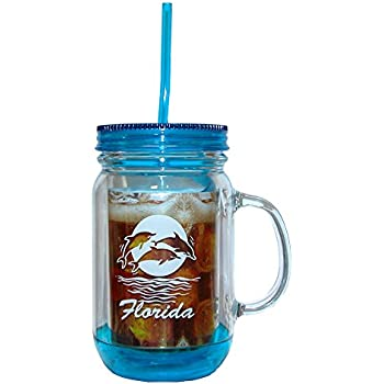 Amazon Com Mason Jars Tumbler Mug With Lid And Straw