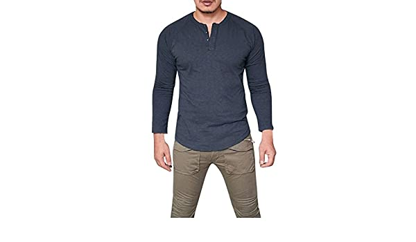 Amazon.com: YKARITIANNA Men Top, Fashion Mens Slim Fit V Neck Long Sleeve Muscle Tee T-Shirt Casual Tops Blouse