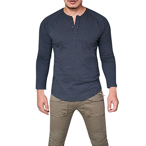 (YKARITIANNA Men Top, Fashion Men's Slim Fit V Neck Long Sleeve Muscle Tee T-Shirt Casual Tops Blouse)