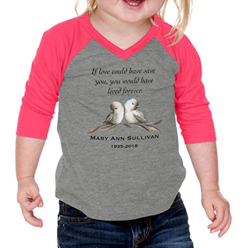 Personalized Custom Memorial If Love Could Save You Birds Cotton/Polyester V-Neck Infant Raglan T-Shirt Baseball Jersey - Gray Hot Pink, 6 Months