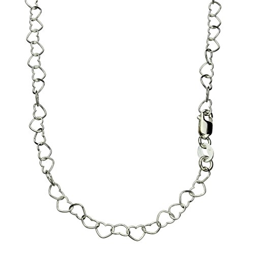 Heart Link Sterling Silver Nickel Free Chain Necklace Italy Adjustable, 14-16