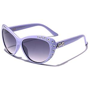 Giselle Kids AGE 6-14 Rhinestone Cat Eye Sunglasses - Purple