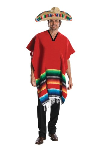 Rubie's Heroes And Hombres Adult Hombre Costume Poncho And Sombrero, Red, -