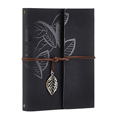 Scrapbook Album,Leather Leaf Pattern Vintage Photo Album Family DIY Memory Retro Photo Book Guestbook for Anniversary Mother Birthday Valentine 60 Pages(Black) ()