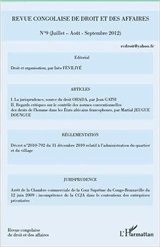Livre Revue Congolaise (N 9) de Droit et des Affaires epub, pdf