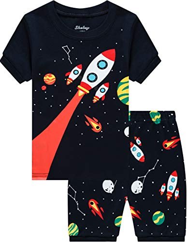 shelry Space Pajamas for Boys Summer Children Rocket Sleepwear Kids 100% Cotton Short Set 7t