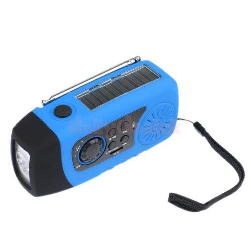 FidgetFidget Solar Hand Crank Power FM Radio MP3 Audio Music Emergency Flashlight Blue