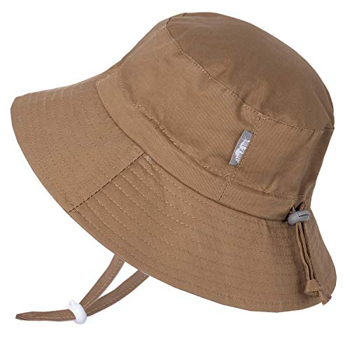JAN & JUL Toddler Boys Girls Cotton Bucket Sun Hats 50 UPF, Drawstring Adjustable, Stay-on Tie (M: 6-24m, Khaki)