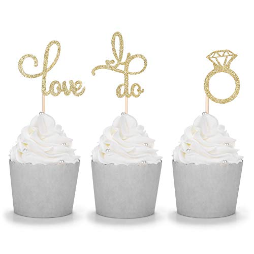 Set of 24 Gold Glitter Love Bride to be Diamond Ring Cupcake Toppers for Wedding Bridal Shower Decorations