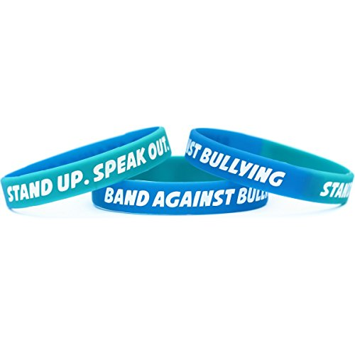 Anti Bullying Color (100 Adult Anti Bullying Wristbands - Debossed Color Filled Silicone)