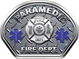 Firefighter Fire Helmet Front Face Paramedic Diamond Plate Decal Reflective