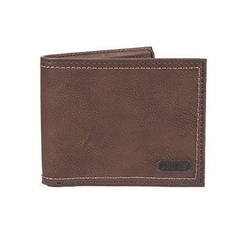 Levi's Men's RFID Blocking Extra Capacity Slimfold Wallet, dark brown, One Size