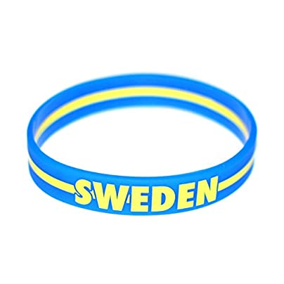 Komonee Sweden Blue World Cup Olympics Silicone Wristbands Pack 50 Estimated Price £24.99 -