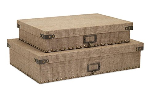 Imax Lidded Box - Imax Set of 2 Kortana Industrial Style Burlap Lidded Document Storage Boxes 18.5
