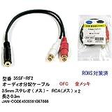 オーディオ分配ケーブル(3.5mmステレオ(メス)とRCA(メス)×2) 0.3m