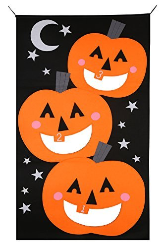 Pumpkin Bean bag Toss Game with 3pcs Bean bags party games for kids Pumpkin banner Halloween Decorations or Treat Banner Family Friendly Party 30 x 54 inches (black orange)) -