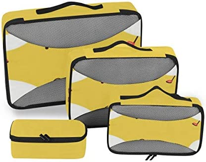 トラベル ポーチ 旅行用 収納ケース 4点セット トラベルポーチセット アレンジケース スーツケース整理 かわいい ハッピー 目玉焼き フライドエッグ 収納ポーチ 大容量 軽量 衣類 トイレタリーバッグ インナーバッグ