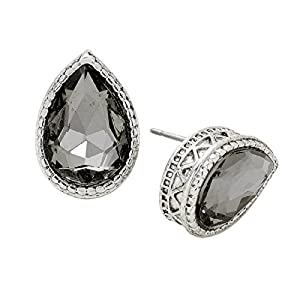 Rosemarie Collections Women's Cut Glass Crystal Teardrop Stud Earrings (Silver Tone Black Diamond)
