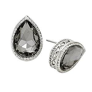 Rosemarie Collections Women's Cut Glass Crystal Teardrop Stud Earrings (Silver Tone Black Diamond)