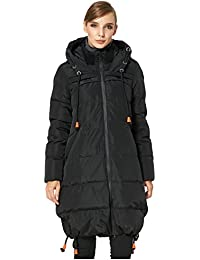 Women's Thickened Contrast Color Drawstring Down Jacket...