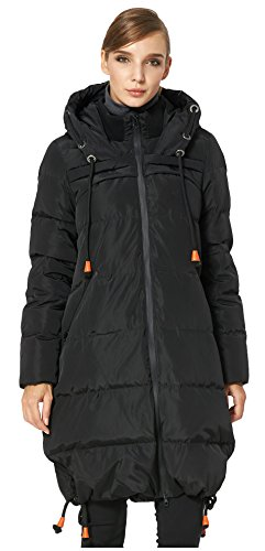 Orolay Women's Thickened Contrast Color Drawstring Down Hooded Coat Black M ()