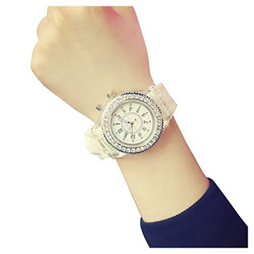 Concord Women Watches - Geneva LED Backlight Glow Quartz Watch Hosamtel Unisex Waterproof Sport Rhinestone Silicone Band Roman Number 12-hour Dial Analog Wristwatch (White)