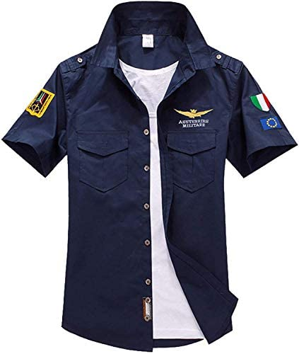 シャツ 半袖 長袖シャツ メンズ オックスフォードシャツ ファッションユニフォーム 綿100% シャツ Tシャツ ストリート ワッペン アーミー エンブレム 襟付き 普段着 ポケット 夏 重ね着 アウトドア