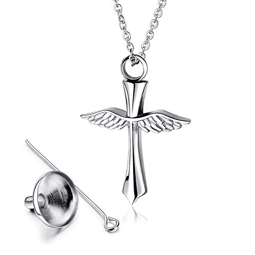 (J.Memi.Men Cross Wings Ash Necklace Stainless Steel Open Design Urn Memorial Pendant with Fill Kit Cremation Jewelry for Commemorative Gift,Steel )