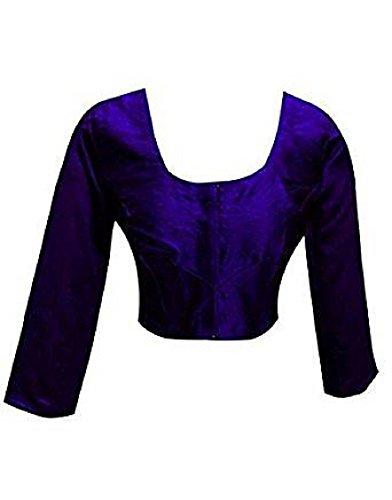 (Plain Raw Silk Ready-made Blouse Ideal Best Match for Saree Sari Lehenga Choli Crop Top by ETHNIC EMPORIUM (XXL, Blue))
