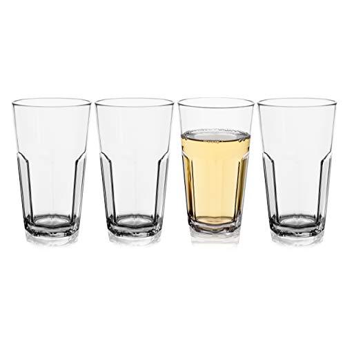 Crystal Juice Tumblers - Plastic Drinking Highball Glasses Unbreakable Tall Tritan Crystal Tumbler for Barware, Juice, Beer, Water, Cocktails, Set of 4,12 OZ,Reusable Shatterproof BPA-FREE Dishwasher Safe Drinking Glasses