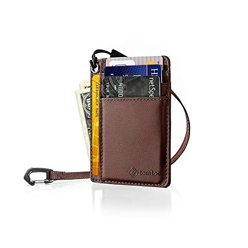 tomtoc Slim Front Pocket Wallet with Chain Minimalist Leather Credit Card Holder Organizer with Strap for Men Women, Brown