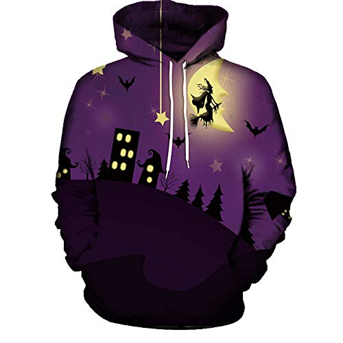 Zainafacai Fashion Print Hoodie- Unisex Realistic 3D Digital Hooded Top Sweatshirt-Happy Halloween 2018/2019 (Purple 2, -
