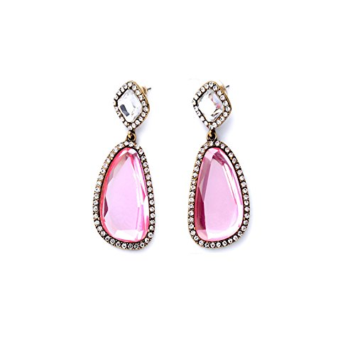 Drop Glass Earrings Clear - Elegant Cubic Zirconia Halo Teardrop Earrings for Bridal or Fashion - Pink Crystal Dangle Earrings 2.4 Inch for Sensitive Ears