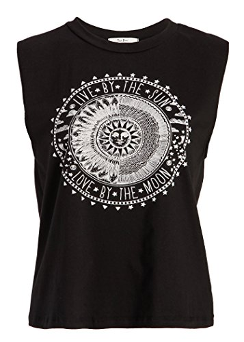 Womens Loose Fit 'Live by the sun - Love by the moon' Black Tank Top Muscle Tee - Size Medium