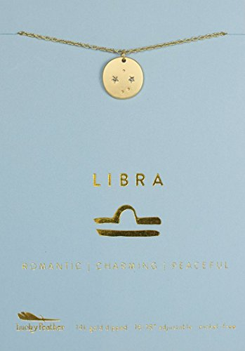 - Lucky Feather Libra Zodiac Sign Constellation Pendant Necklace for Women, 14K Gold-Dipped with Adjustable 16