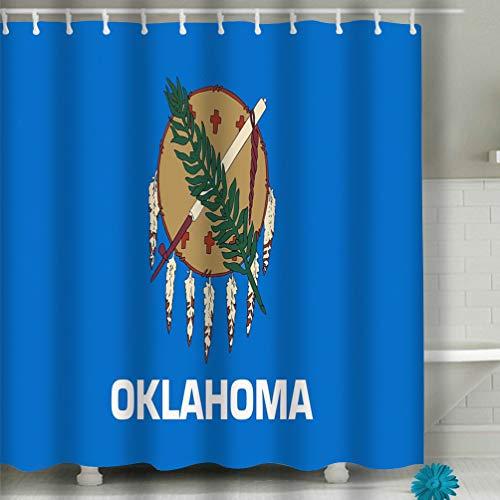 Xunulyn Shower Curtain Fabric Art Print Polyester Fabric,Waterproof, Machine Washable,Hooks 60x72 INCH Oklahoma USA State Flag Background Close up