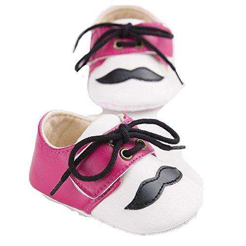 etrack-online Baby Boys Cute Moustache Lace Up Prewalker suave Suela zapatos de Moccasins rosa rosa Talla:12-18 mes rosa