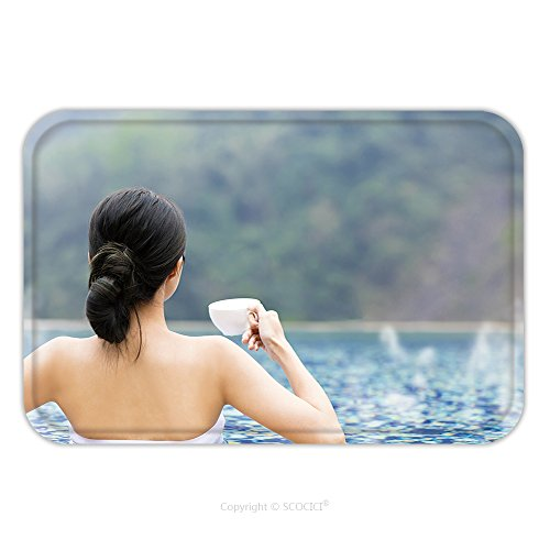 Flannel Microfiber Non-slip Rubber Backing Soft Absorbent Doormat Mat Rug Carpet Young Woman Relaxing In Hot Springs 525272038 for - Montreal Hot Women
