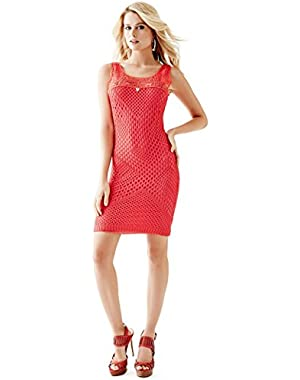 GUESS SLEEVELESS CROCHET SHEATH DEEP PINK CORAL M