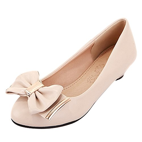 Carolbar Womens Bows Comfort Casual Cute Low Heels Loafers Shoes Beige FYjm38YigZ