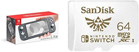 Nintendo Switch Lite - Gray with SanDisk 64GB MicroSDXC UHS-I Card for Nintendo Switch