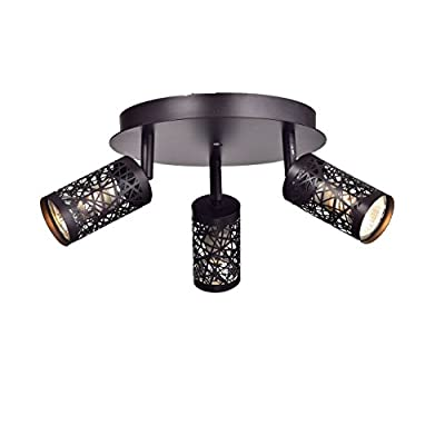 YOBO Lighting Vintage 3-Light GU10 Ceiling Spot Track Light, Oil Rubbed Bronze