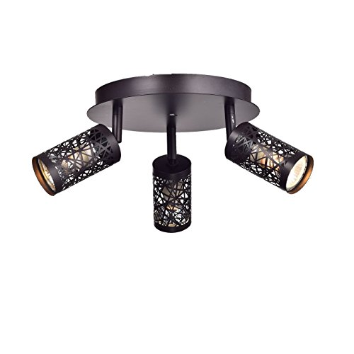 YOBO Lighting Vintage 3-Light GU10 Ceiling Spot Track Light, Oil Rubbed Bronze ()