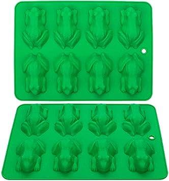 Webake 2 moldes de silicona para caramelos de rana y chocolate, antiadherentes, reutilizables, para gelatina, decoración de tartas, jabón, resina (verde)