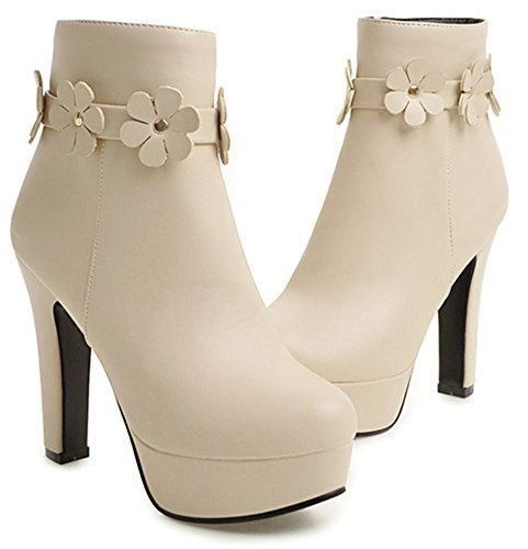 Platform High With Heels Elegant Beige Womens Ankle Up Stiletto IDIFU Zip Booties qI86wv0W