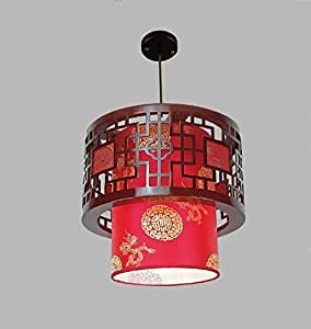 Small Round Wood Art Pendant Lights Of Modern Chinese Restaurant Restaurant Balcony Aisle Festive Lamp Sheepskin ( Color : Red , Size : D40cm )
